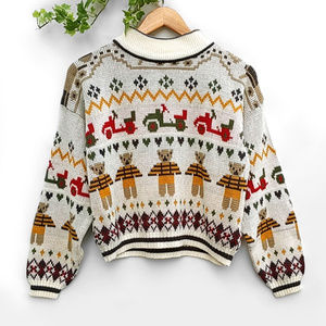 Holiday Fun Toy Themed Graphic Knit Sweater